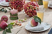 Ornamental apple balls as a table decoration