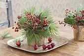 Kleine Straeusse aus Pinus (Kiefer) und Rosa (Hagebutten)
