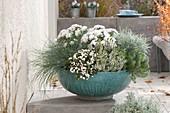 Türkise Schale grau - weiss bepflanzt