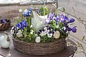 Ostern im lila-weiss bepflanzten Korb-Kranz