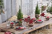 Weihnachtliche Tischdeko mit Strohballen auf der Terrasse