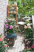 Kleiner Balkon mit platzsparender Sitzecke und Regal,