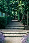 Weg mit Stufen durch Allee mit Buchshecke und Rosen zu einer Statue