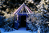 Purple GAZEBO IN THE NICHOLS Garden at 69, ALBERT Road, READING, COVERED with SNOW