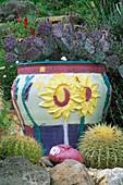 California HILLSIDE CACTUS Garden DESIGNED by KEEYLA MEADOWS. CERAMIC CACTUS Pot AND CERAMIC HEAD