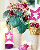 Kalanchoe blossfeldiana (Flammendes Käthchen), weihnachtlich dekoriert