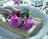 Serviettendeko mit Alogyne huegeli, lila Band und Perlen