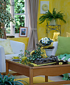 Wohnzimmer mit Primula acaulis / Kissenprimel, Sisaltüte mit