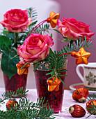 Rosa / Rose, Abies koreana / Koreatanne, rotes Glas mit