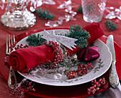 Abies procera / Nobilistanne, rosa Pfeffer, Engelshaar, rote Serviette, roter St