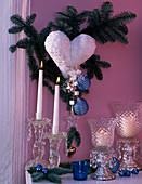 Abies procera / Nobilistanne mit weißem Herz, Baumschmuck, Kristallwindlichter,