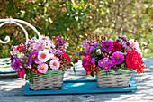 Herbstliche Tischdeko in kleinen Körbchen : Aster (Herbstastern), Rosa