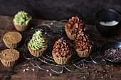 Vegan cupcakes with chocolate and matcha frosting