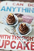 Vegan banana cupcakes with chocolate frosting