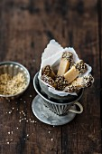 Vegan cashew bars with hemp seeds and a chocolate glaze