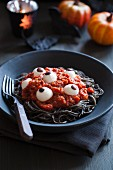 Eyeball pasta for Halloween