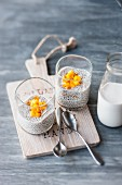 Vegan chia pudding with almond milk and mango