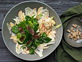 Apple and fennel salad with walnuts and venison ham