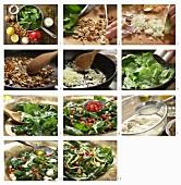 Spinatsalat mit Granatapfelkernen und Mandeln (Marokko) zubereiten