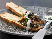 Flatbread with aubergine puree and tahini