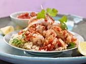 Calamari-Pfanne mit Harissa auf Couscous (Arabien)