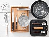 Kitchen utensils for making grilled swordfish with Thai vegetables