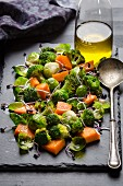 Broccoli and brussels sprouts with pumpkin
