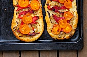 Focaccia with tomatoes and red pepper