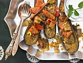 Indian eggplant ragout with various spices and vegetables