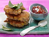 Jamaican corn cakes with ginger and tomato chutney
