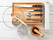 Kitchen utensils for making marinated chicken and vegetables in seasoning