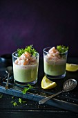 Asparagus and pea mousse with prawn in pink mayo, garnished with dill and lemon
