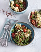 Vegetarian bulgur and lentil salad with cauliflower