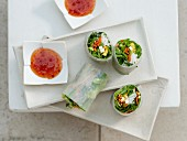 Summer rolls with glass noodles, snow peas and chili sauce