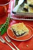 Poppy quark slices with a streusel topping