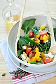 Spinach salad with feta and pumpkin