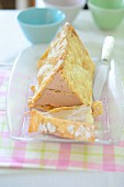 Wintery triangle cake sliced