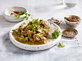 Pork vindaloo with coriander and rice (India)