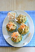 Herb muffins with carrot dip