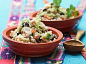 Mexican quinoa with tomato and black beans