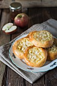 Apple pie with almonds made from a yeast dough