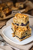 Blueberry and almond cake tray bake