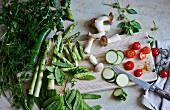 Vegetables and herbs for low-carb cuisine