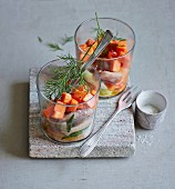 Young salted herring verrine with papaya, chilli and spring onions (low carb)