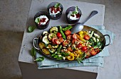 Oven-baked vegetables with a goat's cheese trifle (low carb)
