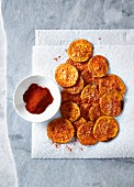 Sweet potato chips baked with parmesan