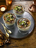 Banana custard with christmas dates and pistachios dessert