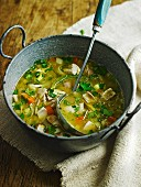 Chicken soup in a stock pot