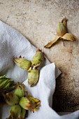 English cob nuts on white linen cloth and stone background
