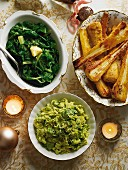 Christmas side dishes: Brussels sprout mash, chard and parsnips with cheese
